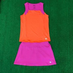 Wilson girls tennis outfit matching skirt and tank